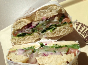 The Leontine with smoked salmon, onions, cream cheese and cucumbers.